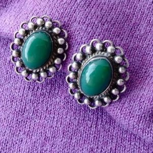 1940s Mexican Jade Silver Earrings Screw Back